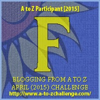 "A to Z challenge ""F"" Badge"